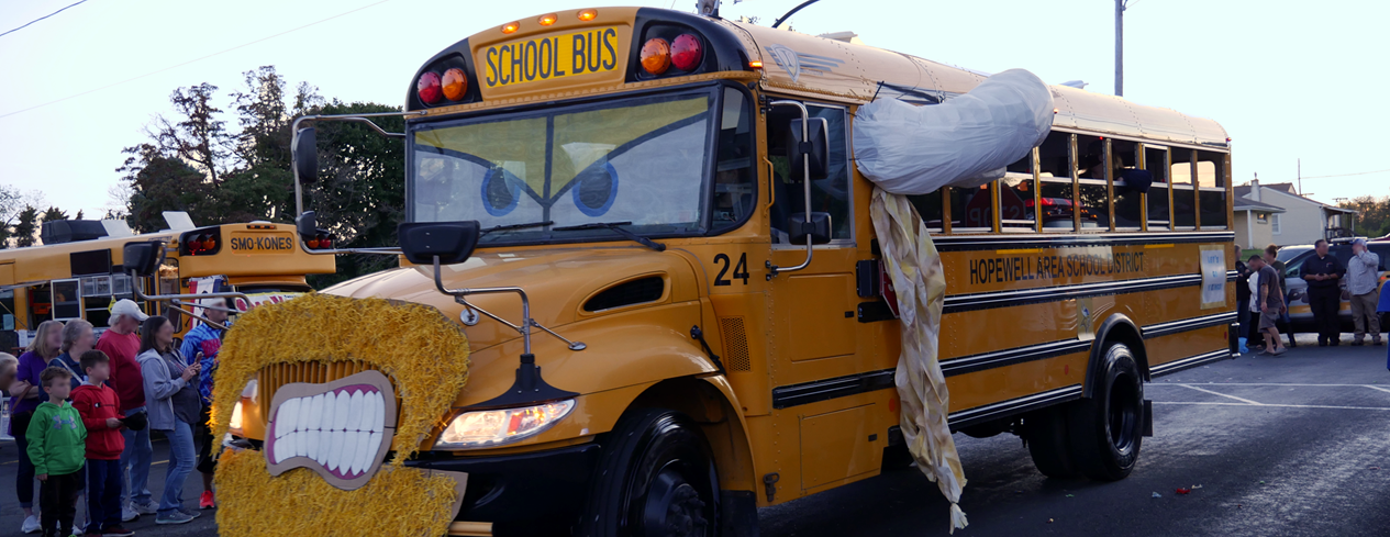 School bus decorated as a viking